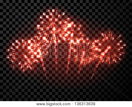 Festive red firework background. Vector illustration.