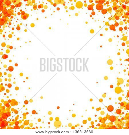 White paper background with yellow and orange drops. Vector illustration.