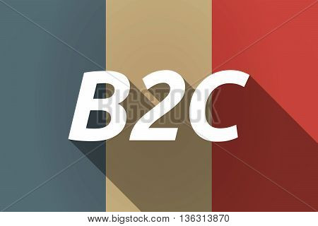 Vector Long Shadow France Flag With    The Text B2C