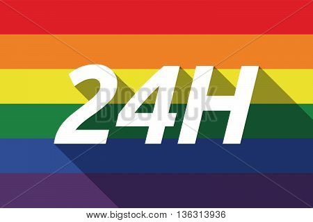 Vector Long Shadow Gay Pride Flag With    The Text 24H