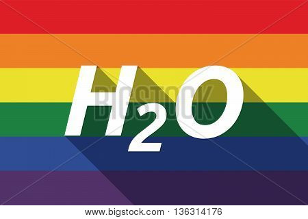 Vector Long Shadow Gay Pride Flag With    The Text H2O
