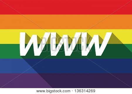 Vector Long Shadow Gay Pride Flag With    The Text Www