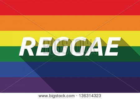 Vector Long Shadow Gay Pride Flag With    The Text Reggae