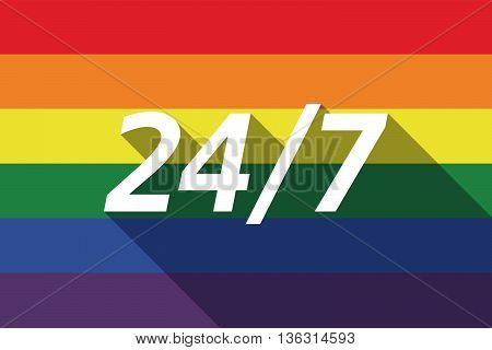 Vector Long Shadow Gay Pride Flag With    The Text 24/7