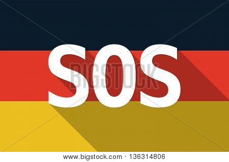 Vector Long Shadow Germany Flag With    The Text Sos