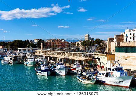 Peniscola, Spain - March 27, 2016: Fishing harbor of Peniscola city. Costa del Azahar; province of Castellon. Valencian Community. Spain