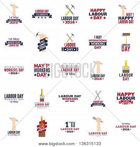 abstract labor day labels on a white background