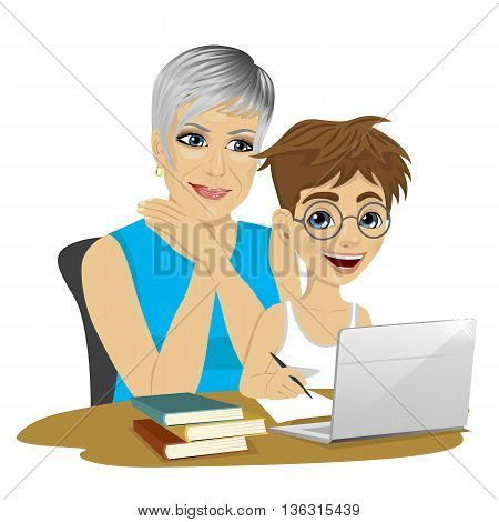 cute grandson helping grandmother to use laptop isolated on white background