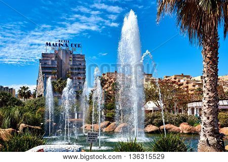 Oropesa del Mar Spain - March 29, 2016: Picturesque Marina d'Or garden in the Oropesa del Mar resort town. Spain