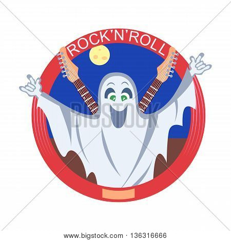 Vector illustration of the ghost with guitars.