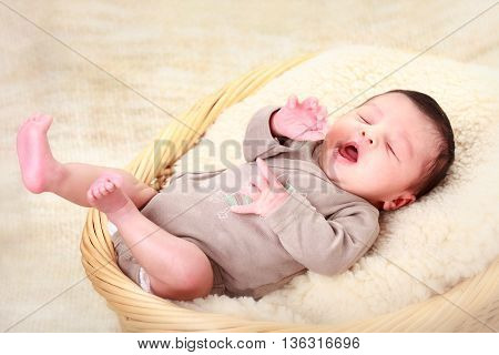 portrait of a beautiful sleeping newborn baby girl