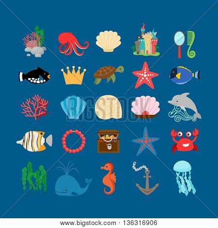 Underwater set. Marine life and underwater plants, treasure and cartoon ocean animals. Vector illustration