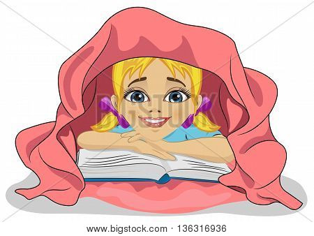 Little cute girl reading a book in bed under pink blanket