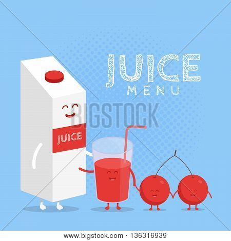 Kids restaurant menu cardboard character. Template for your projects websites invitations. Funny cute cherry juice packaging and glass drawn with a smile eyes and hands.