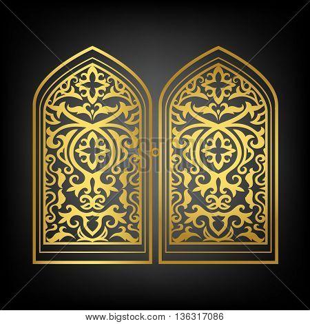 Vector islamic window or arabic gold window set