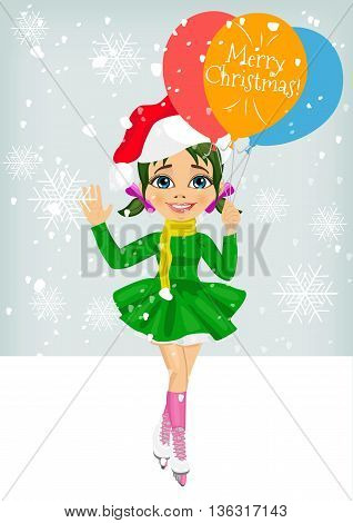 little cute girl skating ourdoors wearing santa hat holding balloons with merry christmas text