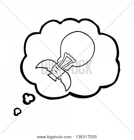 freehand drawn thought bubble cartoon lightbulb rocket ship