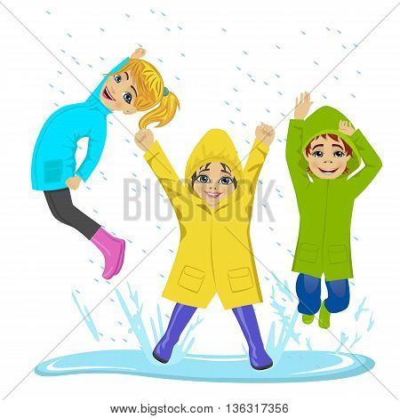 little kids playing on puddle wearing colorful raincoats and boots over white background