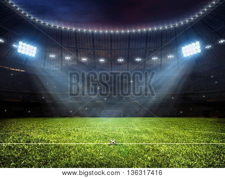 3d rendering of sport concept background - soccer footbal stadium with floodlights. Grass fooball pitch soccer ball with mark up and goal with net
