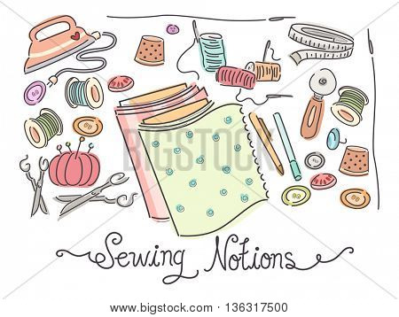 Colorful Illustration Featuring a Variety of Sewing Materials