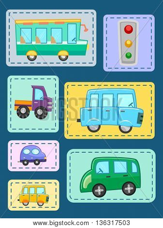Illustration of Patches Featuring Different Types of Vehicles