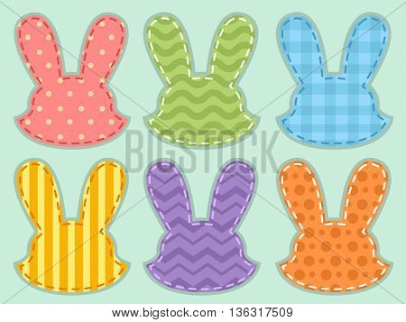 Illustration Featuring Colorful Bunny Shaped Cloth Scrap