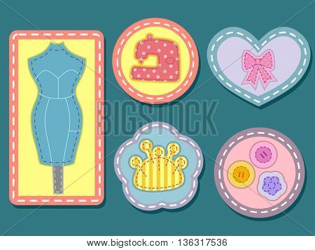Colorful Illustration Featuring Sewing Badges with Visible Stitches
