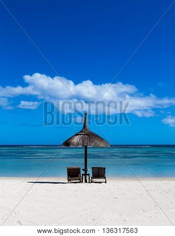 White Sand Beach Of Flic En Flac Mauritius Overlooking The Sea