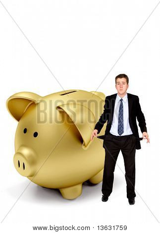 Business man gone bankrupt isolated on white