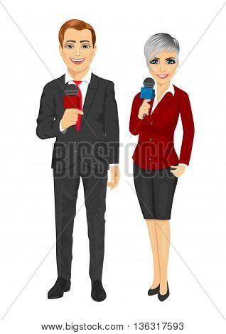 news reporters or journalists holding the microphones isolated on white background