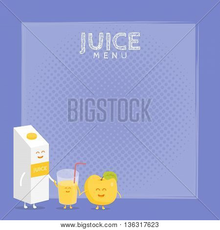 Kids restaurant menu cardboard character. Template for your projects, websites, invitations. Funny cute apple juice packaging and glass drawn with a smile, eyes and hands.
