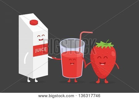 Kids restaurant menu cardboard character. Template for your projects, websites, invitations. Funny cute strawberry juice packaging and glass drawn with a smile, eyes and hands.