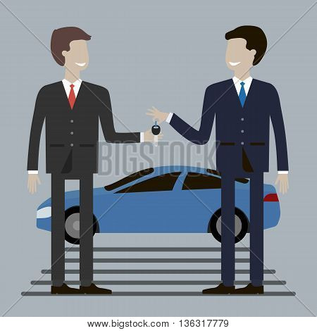 Businessman buying car. Dealership agent giving car key to a customer with a car in the background. Concept of car rental, sale, gift, reward. Vector illustration flat design