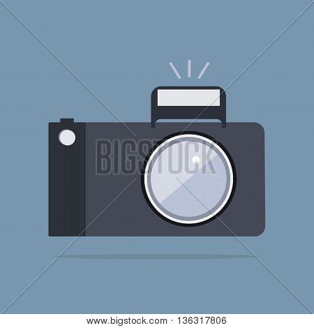 Photo camera icon. Vector flat style illustration