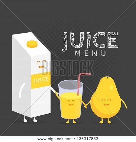 Kids restaurant menu cardboard character. Template for your projects, websites, invitations. Funny cute pear juice packaging and glass drawn with a smile, eyes and hands.