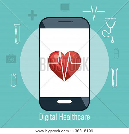 digital healhcare isolated icon design, vector illustration  graphic