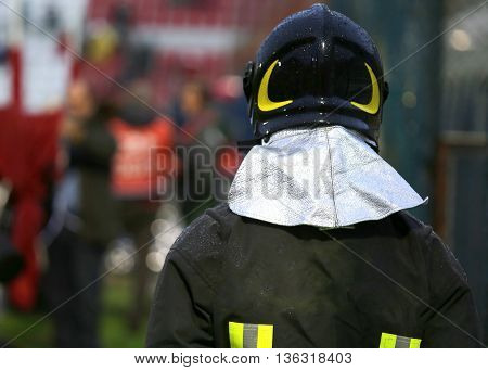 Firefighter With Riot Helmet For The Security Service In The Stadium