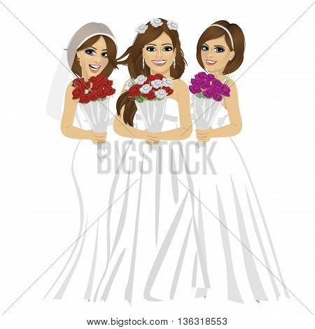 three beautiful brides wearing different bride dresses posing with bouquet of roses over white background