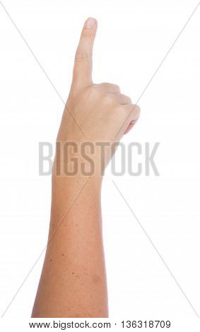 Hand gesture with index finger pointing isolated on white background