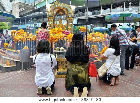 BANGKOK THAILAND-20 JUNE 2016: Erawan Shrine Hindu shrine cityscape view of Ratchaprasong area in Bangkok. It is the main shopping and business street.