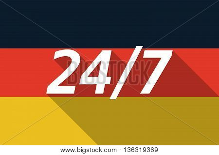 Vector Long Shadow Germany Flag With    The Text 24/7