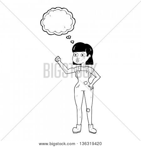freehand drawn thought bubble cartoon woman clenching fist