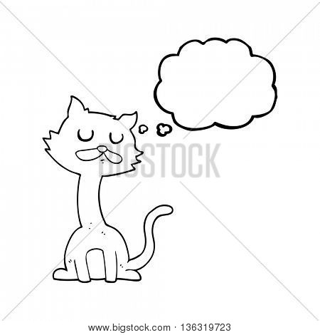 freehand drawn thought bubble cartoon cat
