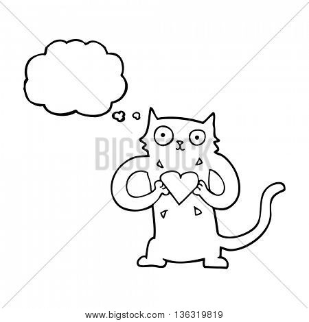 freehand drawn thought bubble cartoon cat with love heart