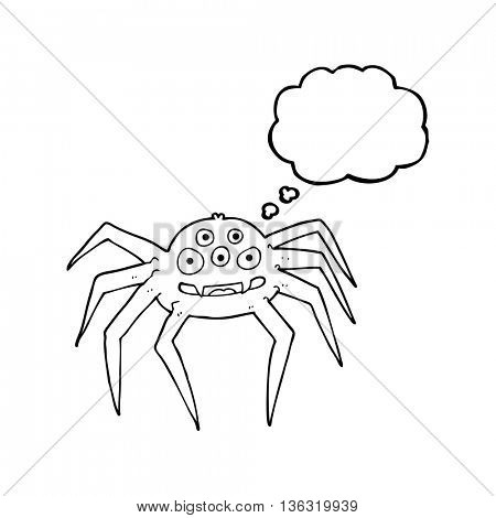 freehand drawn thought bubble cartoon spider