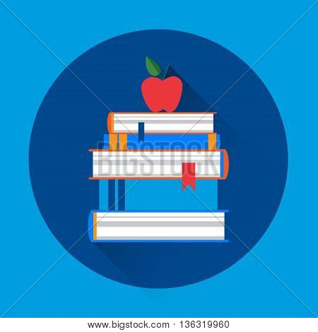 Books Stack Colorful Icon Flat Vector Illustration