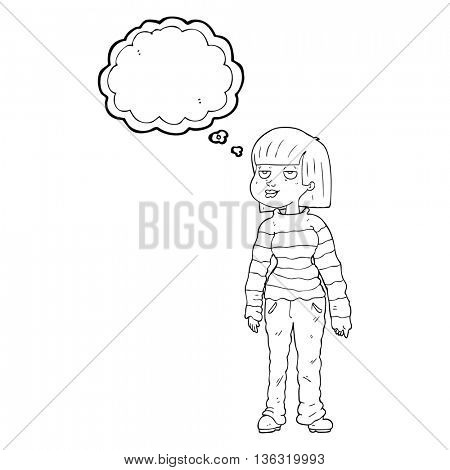 freehand drawn thought bubble cartoon woman in casual clothes