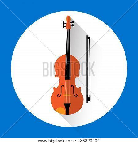 Violin Music Instrument Icon Flat Vector Illustration