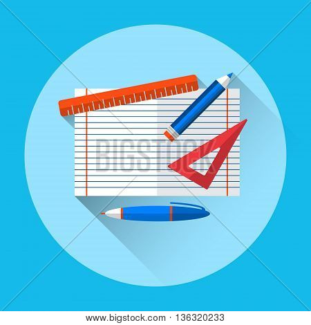 Notebook Pen Pencil School Workplace Angle View Icon Flat Vector Illustration