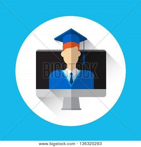 Graduate Student Desktop Computer Screen Icon Graduation Gown Cap Flat Vector Illustration
